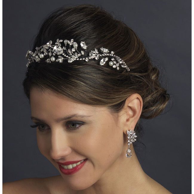 Bridal Headband Antique Silver Ivory Pearl & Marquise Crystal
