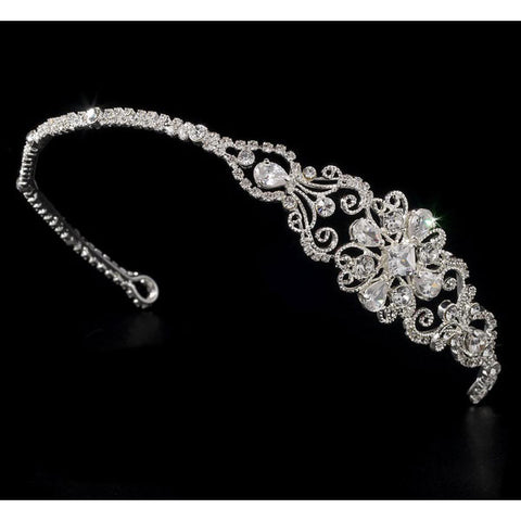 Silver Bridal Headband with Sparkling Side Ornament