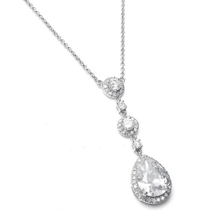 Best Selling Pear-shaped Drop Bridal Necklace with Pave CZ