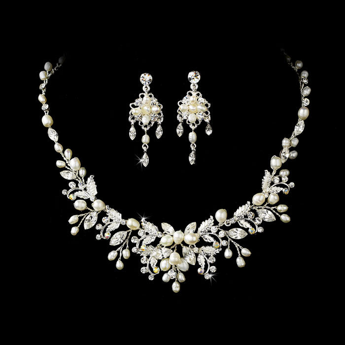 Silver Clear Crystal & Freshwater Pearl Floral Necklace & Earring Set