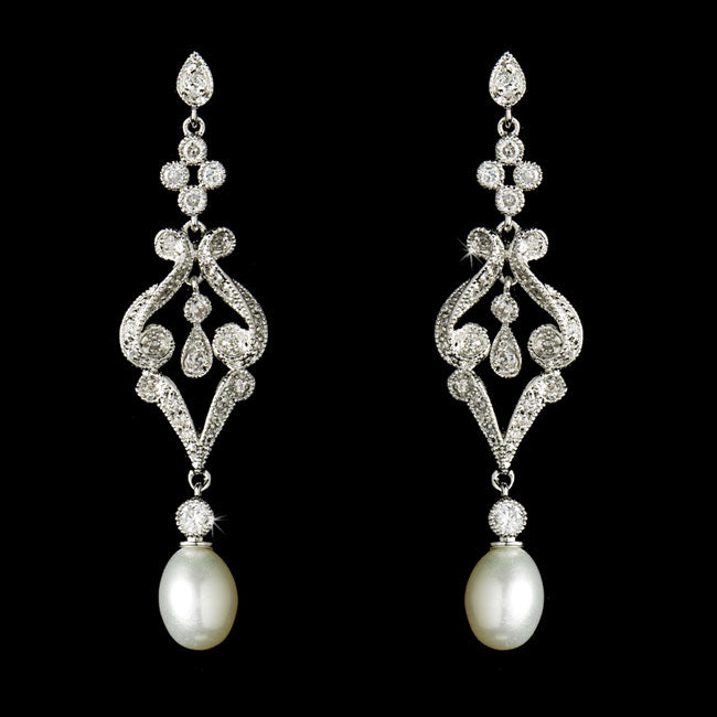 Vintage CZ & Diamond White Pearl Bridal Earrings