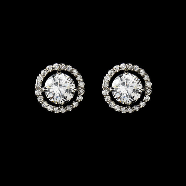 Captivating Silver Clear CZ Stud Earrings