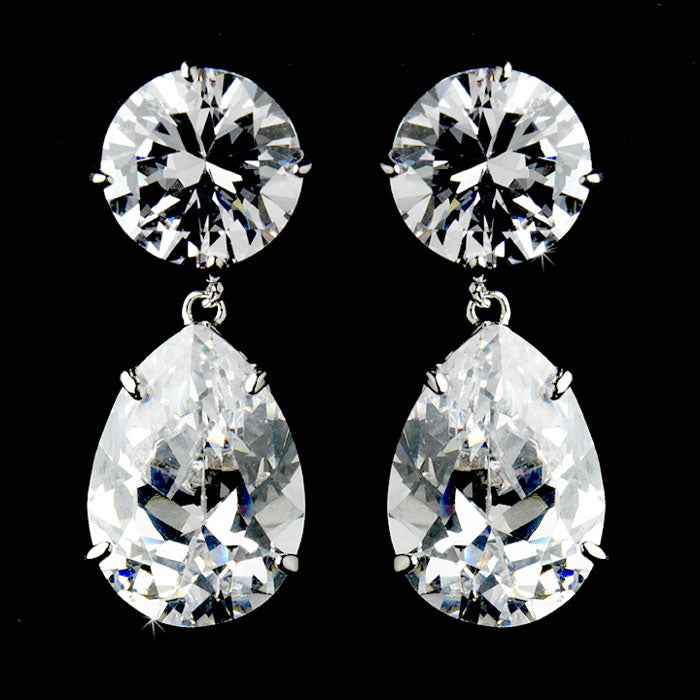 Antique Silver Clear Cubic Zirconium Teardrop Earrings