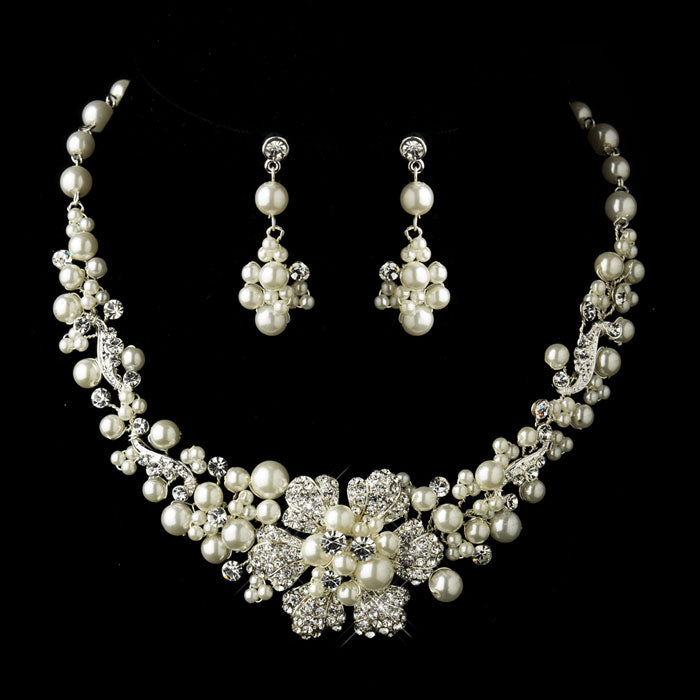 Silver Ivory Pearl & Rhinestone Flower Necklace & Earrings Bridal Jewelry Set