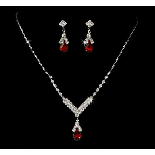 Silver Red Crystal Drop Jewelry Set