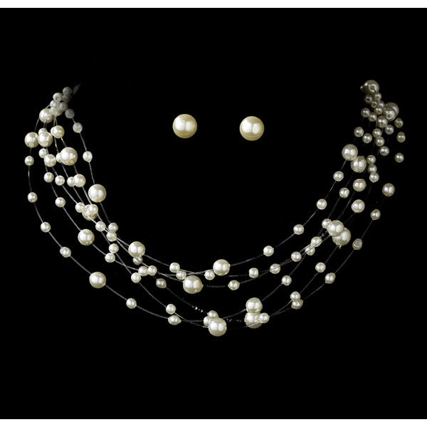 Six Strand Illusion Pearl Necklace and Earring Set (Silver or Gold)
