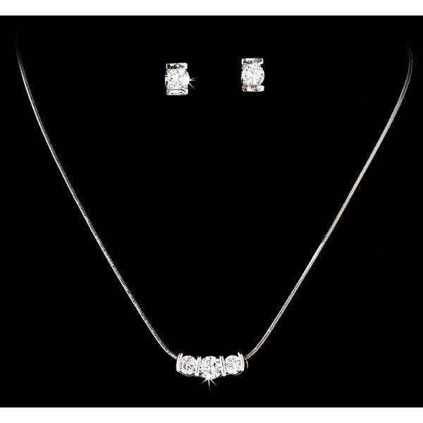 Silver Crystal Cubic Zirconia Three Stone Jewelry Set