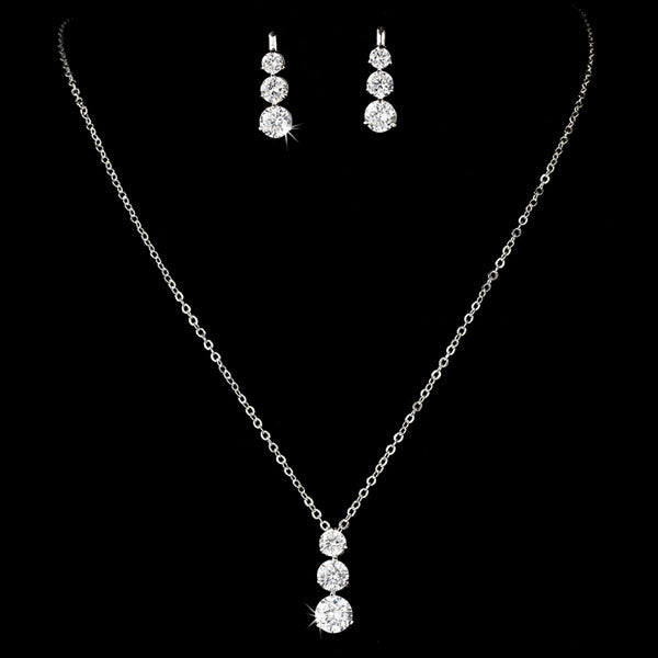 Three Stone Cubic Zirconia Silver Bridal Jewelry Set