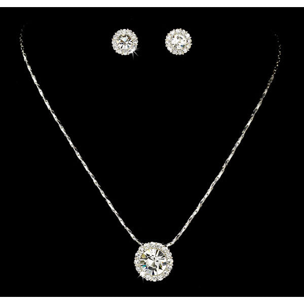 Sparkling Silver Necklace and Earring Set