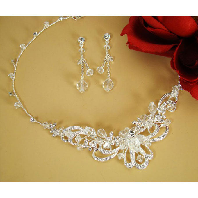 Bridal Jewelry Set Silver Swarovski Crystal Necklace and Earring Set