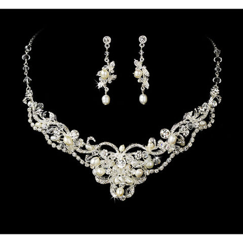 Silver Freshwater Pearl & Crystal Bridal Jewelry Sets