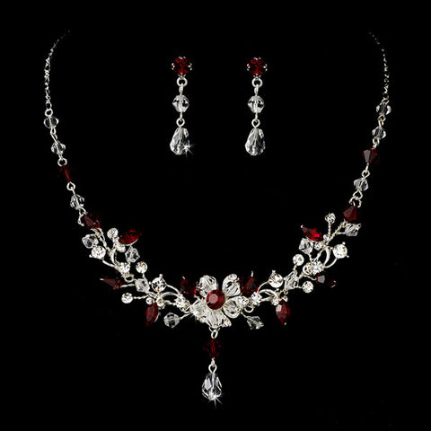 Crystal Vine Necklace and Earring Bridal Jewelry Set (5 Colors)