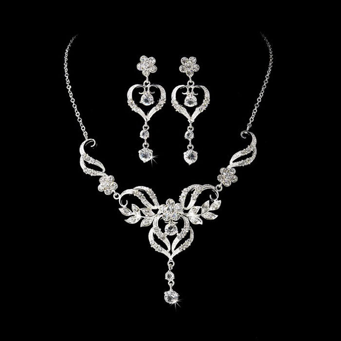 Beautiful Crystal Bridal Jewelry Set Silver or Gold