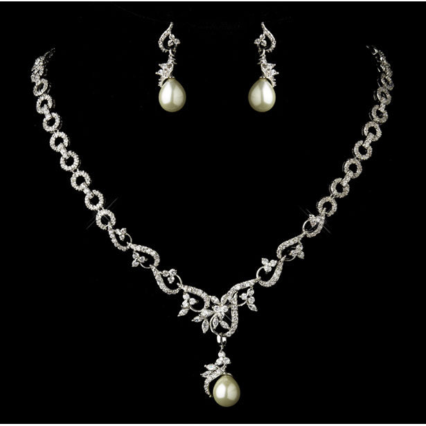 Antique Silver CZ Crystal & Ivory Pearl Necklace & Earrings