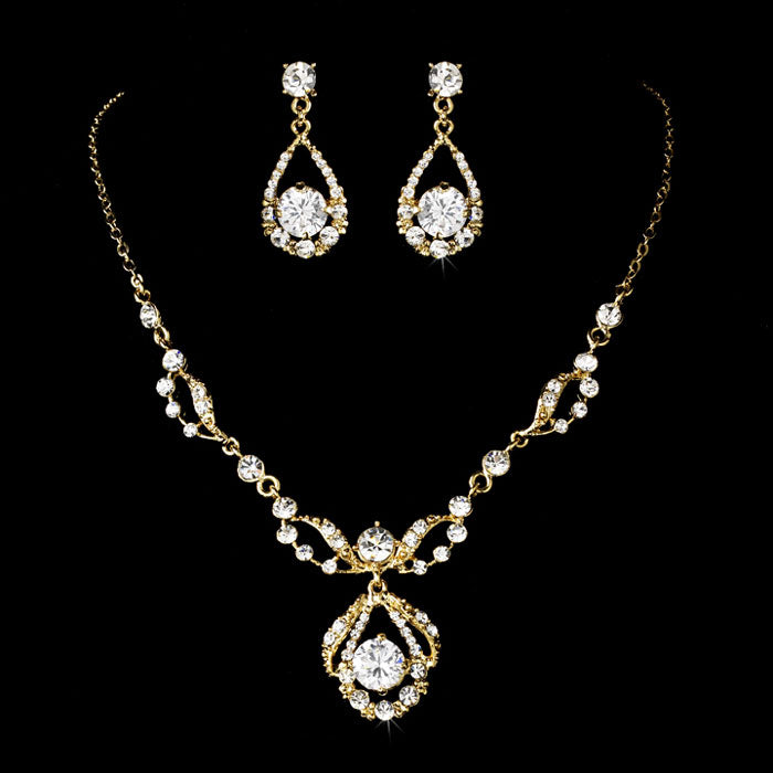 Gold Clear Round Rhinestone Necklace & Earrings Bridal Jewelry Set