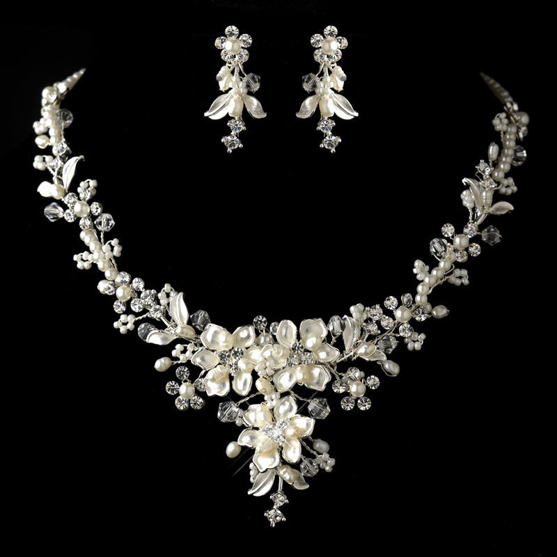 Silver Diamond White Freshwater Pearl Crystal Necklace & Earrings Jewelry Set