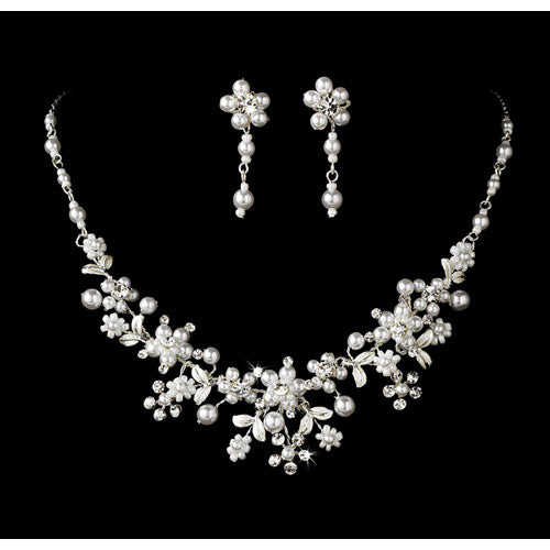 Elegant Silver White Pearl Jewelry Set