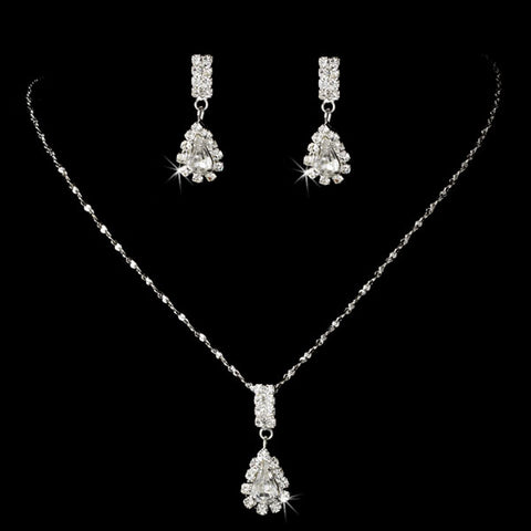 Teardrop Rhinstone Necklace and Earring Set
