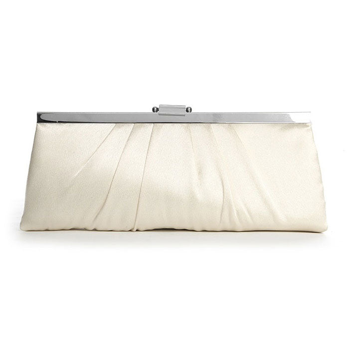 Bridal Purse Sleek Framed Satin Wedding Clutch Purse (Silver or Ivory)