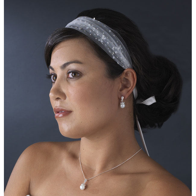 Bridal Ribbon Headbands Netting Headband with Beads & Sequins