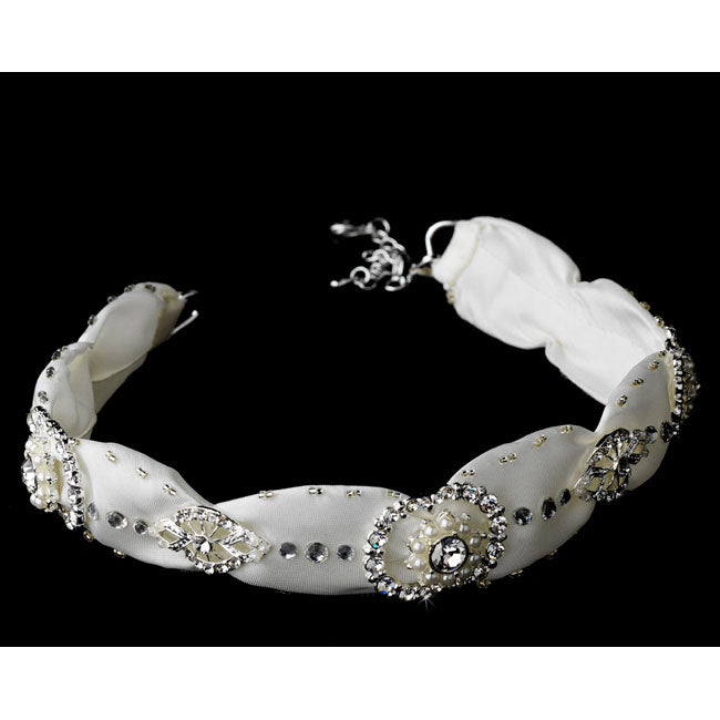 Bridal Ribbon Headband Crystal & Rhinestone Headpiece White or Ivory