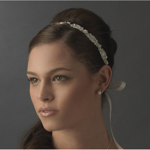 Bridal Ribbon Headband Sparkling - White or Ivory