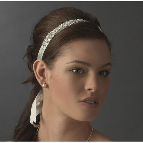 Bridal Ribbon Headband Vintage Rhinestone Accent White or Ivory