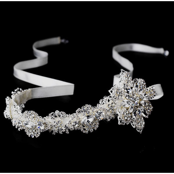 Bridal Ribbon Headband Side Accented Headpiece