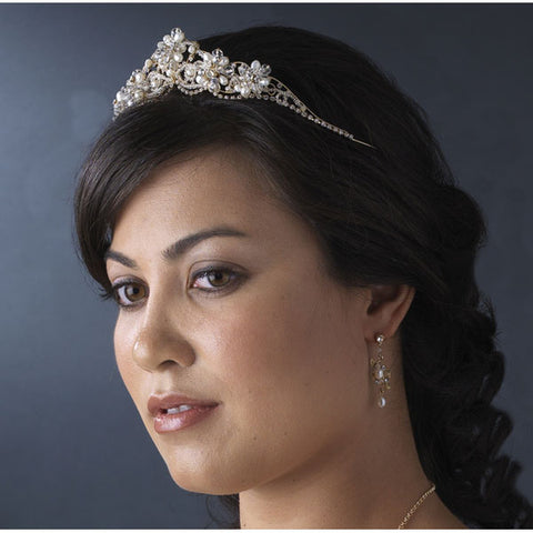 Crystal Couture Pearl Bridal Tiara (Silver or Gold)