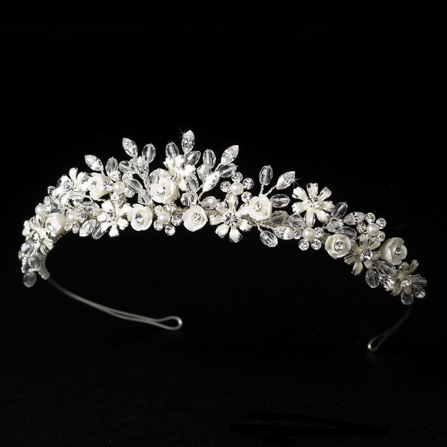 Porcelain Flower Accented Silver Bridal Tiara