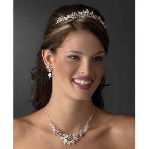 Couture Crystal Red Accent Bridal Jewelry & Tiara Set