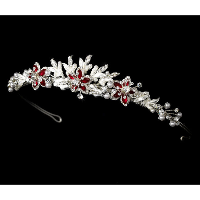 Couture Silver Bridal Tiara with Red Accent