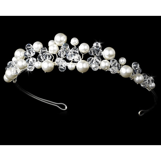 Bridal Tiara Pearls & Swarovski Crystals Tiara (White or Ivory)