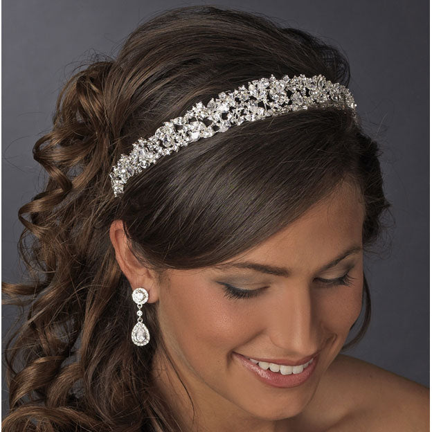 Bridal Headband Majestic CZ Crystals Tiara (Silver or Gold)