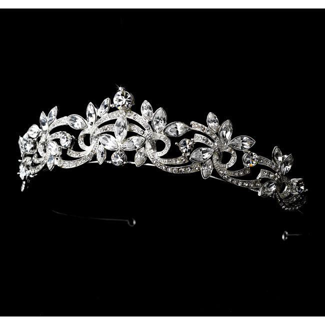 Bridal Tiara Weave Design Tiara with Marquise Cut Rhinestones