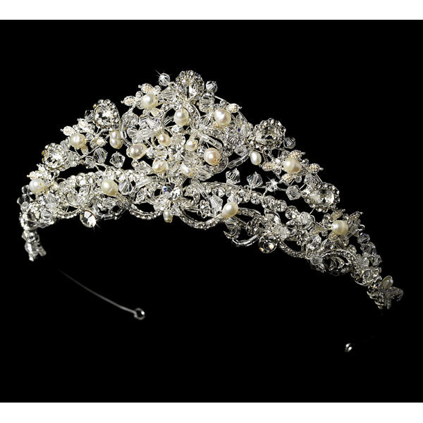 Swarovski and Freshwater Pearl and Crystal Bridal Tiara