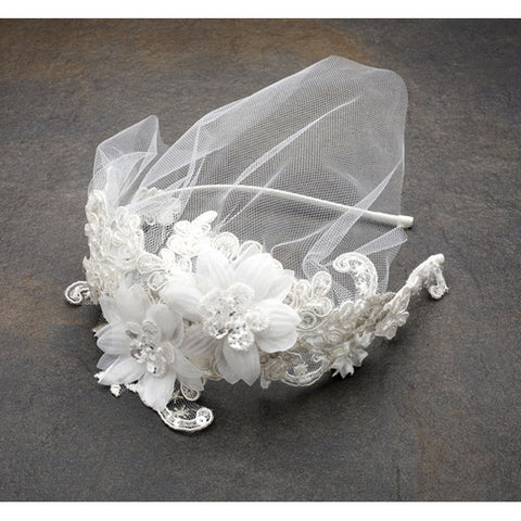 Bridal Headband with European Lace Applique & Petite Veil (White or ivory)