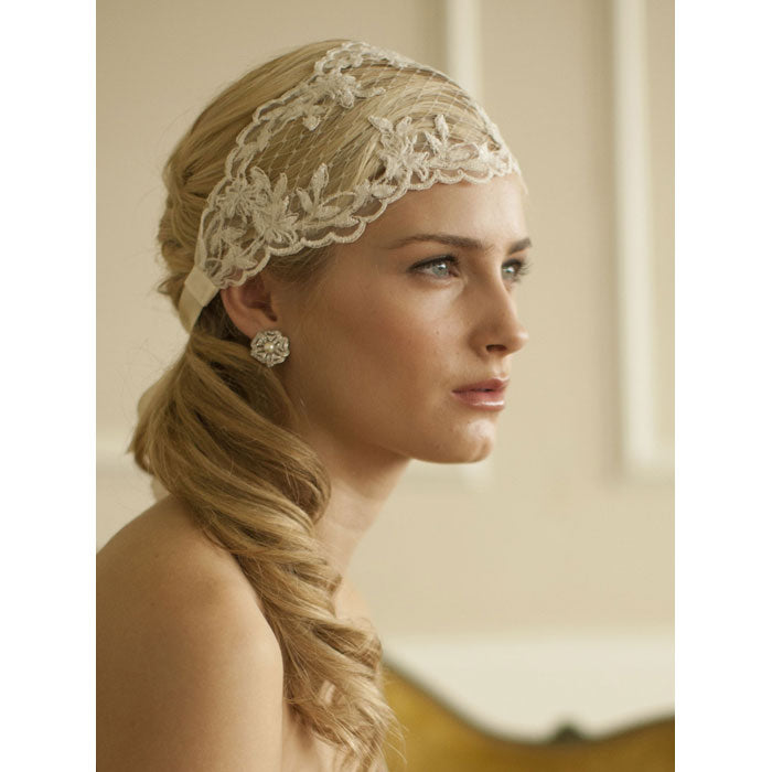 Split Lace Ribbon Bridal Headband with French Netting (White or ivory)