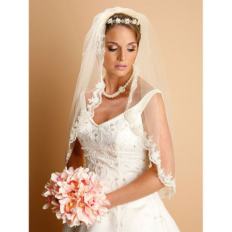 Bridal Veil Lace Embroidered Mantilla Wedding Veil (White or ivory)