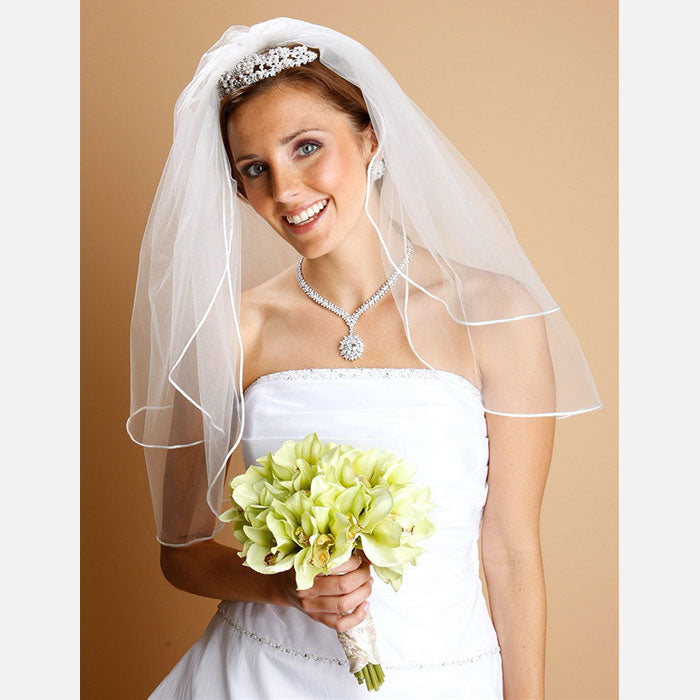 2-Layer Satin Corded Edge Bridal Veil (White or Ivory)