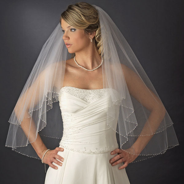 Double Layer Swarovski Crystal & Rhinestone Edge Veil White or Ivory