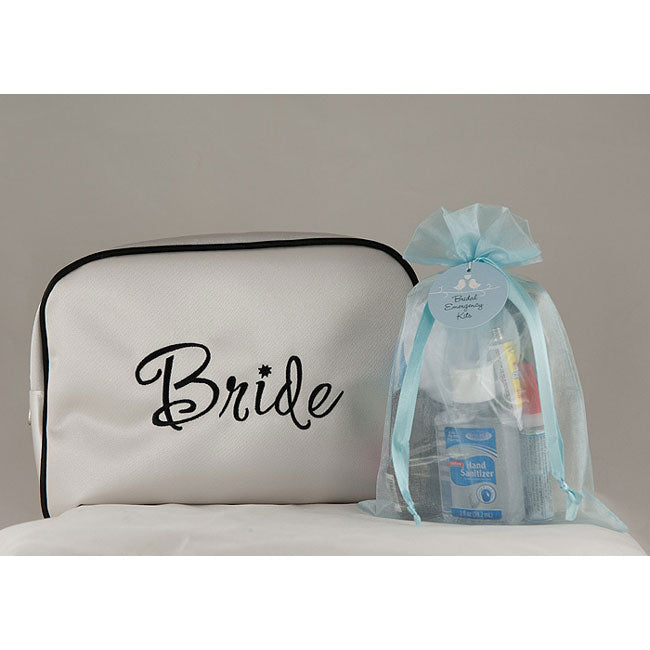 Bridal Emergency Kit in White Satin Bride Travel Bag