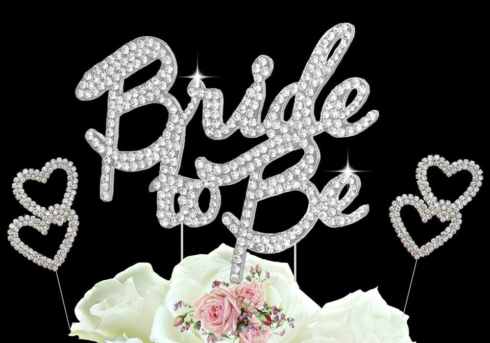 Bride to Be Cake Topper Crystal Bridal Shower Cake Toppers with Hearts Cake Picks