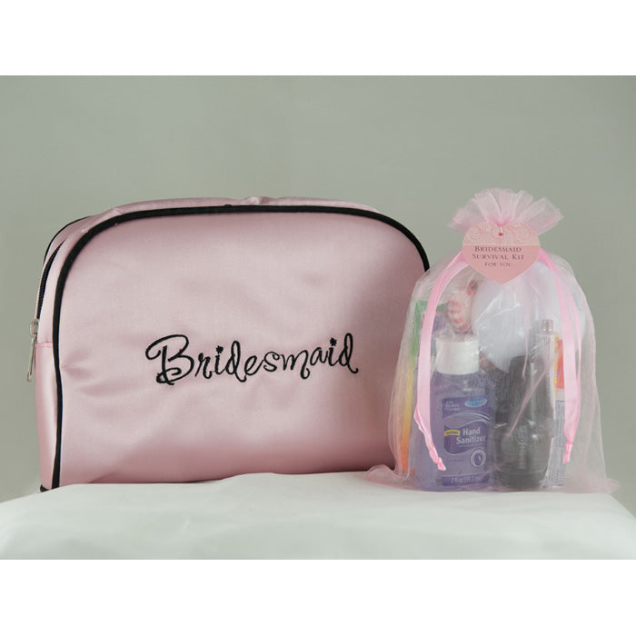 Bridesmaid Survival Kit in Pink Satin Bridesmaid Travel Bag