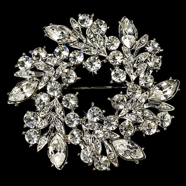 Vintage Crystal Silver Bridal Pin for Hair or Gown
