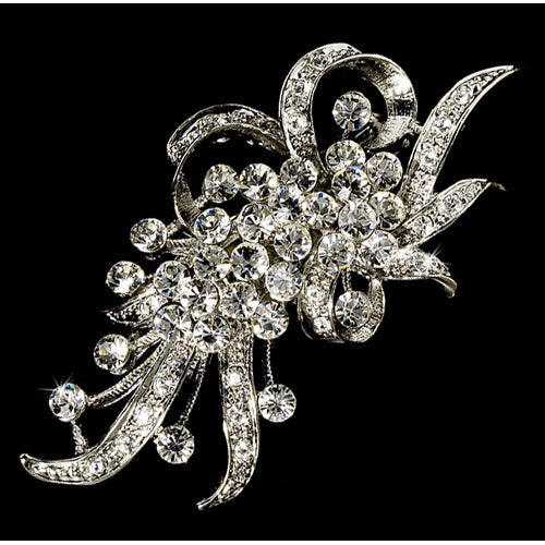 Vintage Crystal Hair Pin or Brooch Silver Clear