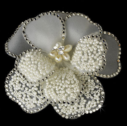 Bridal Flower Hair Clip / Brooch with Rhinestones & Seed Beading