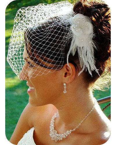Birdcage Veil & Flower Feather Fascinator Comb (White or Ivory)