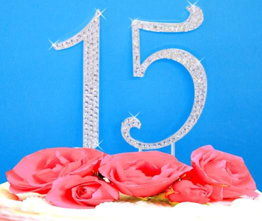 Large Crystal Number Cake Topper Silver Crystal Birthday Anniversary 0-9 Any Number