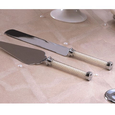 Pearl Stemmed Wedding Cake Serving Set
